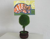 ACEO,Yellow Striped Cat, original painting, acrylic, green, miniature, orange, green