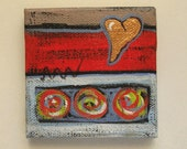 Abstract Heart Painting, Valentines Day, miniatuare, original, acrylic, easel, red, modern home decor, gift, circle, red, green