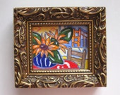 Miniature, Golden Gate Bridge Painting, Sunflowers, french blue, red, acrylic, still life, San Francisco, coastal, oceangold frame