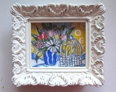 Miniature Birdcage Painting, Original, Country French home decor, acrylic, pen and ink, still life, daisies, tulips,