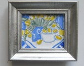 Miniature Lemons and Tulips Painting, Country French decor, blue and yellow, silver frame, miniature, acrylic, pen and ink