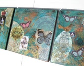 """3 12""""x12"""" Turquoise Mixed Media paintings, OOAK,Triptych, Free shipping, Bird nest, queen, butterflies, French vintage look, gold"""