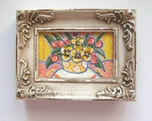 Miniature Pansies Painting, Shabby Chic, Country French, acrylic, original, Pink Tulips, yellow, distressed frame, rustic