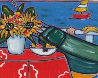 Original Beach Painting, hammock, ocean, beach decor, seashells, shabby chic
