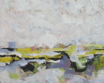 """White Abstract Landscape painting, Original Acrylic on Canvas, Contemporary Home Decor, 24"""" x 24"""", gift idea"""