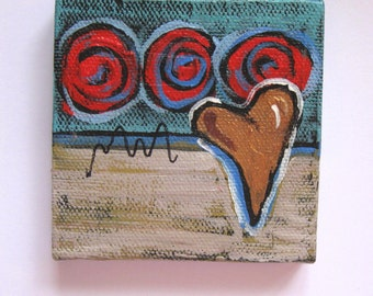 "SALE, Original abstract mini painting on canvas, Valentine heart art, 3"" x 3"", mini wood easel, Modern home decor, tabletop art, gift idea"
