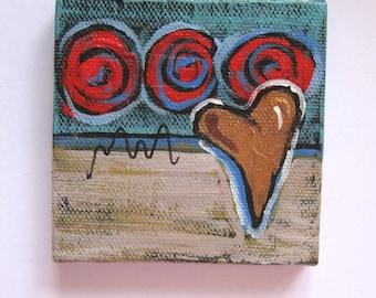 "Original abstract mini painting on canvas, Valentine heart art, 3"" x 3"", mini wood easel, Modern home decor, tabletop art, gift idea"