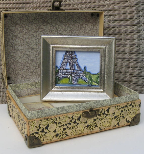 Miniature Eiffel Tower Painting, Paris, Country French, Shabby Chic, acrylic, pen and ink, silver frame