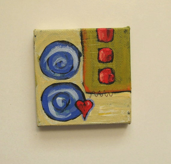 Abstract Heart Painting, original acrylic,  pink, red, french blue, easel, shabby chic, modern home decor
