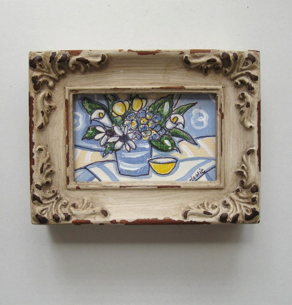 Miniature Spring Still life Painting, original acrylic, shabby chic, distressed frame, tulips, daisies, hydrangea, french blue,