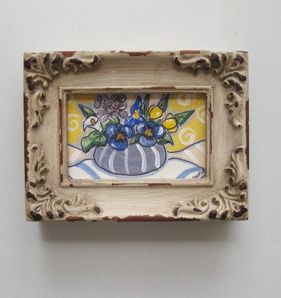 Miniature Spring Still life Painting, original acrylic, shabby chic, distressed frame, pansies, iris, calla lilly, Country French Decor