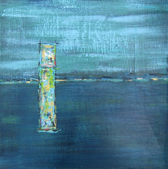 Abstract Art Acrylic Turquoise Painting on Canvas Original Contemporary