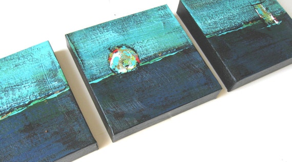 Turquoise Abstract Triptych  - Original Acrylic Paintings