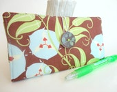 CHECKBOOK COVER  Chocolate Brown Olive Green Pale Blue Fabric Wallet - Morning Glory (Amy Butler fabrics)