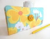 CHECKBOOK COVER Teal Tiffany Blue Mustard Yellow Fabric Handmade Wallet - Dogwood Blooms