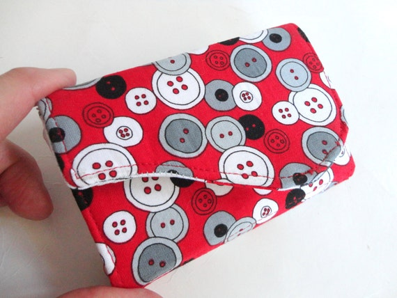 Red Business Card Case or Tea Tote, Colorful Fabric - Buttons