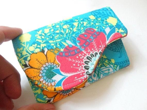 Business Card Holder - Aqua Blue Orange Pink Floral Fabric Handmade Card Wallet - Rhapsody