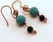 Handmade Beaded Earrings, Brass Scroll Work, Celtic Jewelry