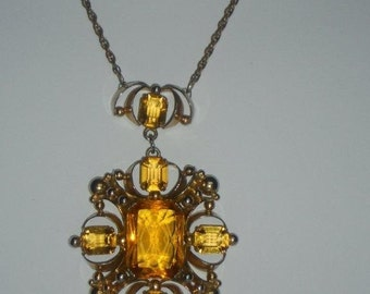 1930's Topaz Glass Pendant on Brass Braided Chain