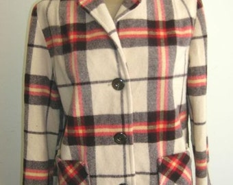 1950's Red, Gray, and Ecru Window-Pane Plaid Wool Jacket