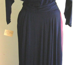 Navy Blue and Magenta Crepe Dress