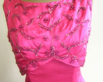 1970's Two piece satin gown, of bright magenta with removable beaded top