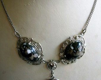 1930's Black and white marbled colloid chrome framed necklace