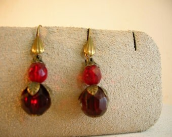 Stunning 1930's pair of garnet red glass drop earrings.