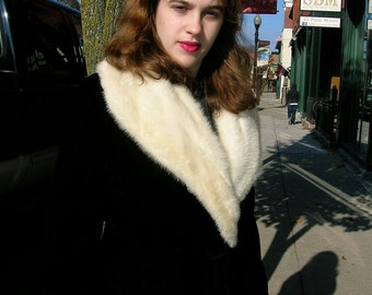 "1950's 32"" bust, black velvet coat, with white mink shawl  collar"