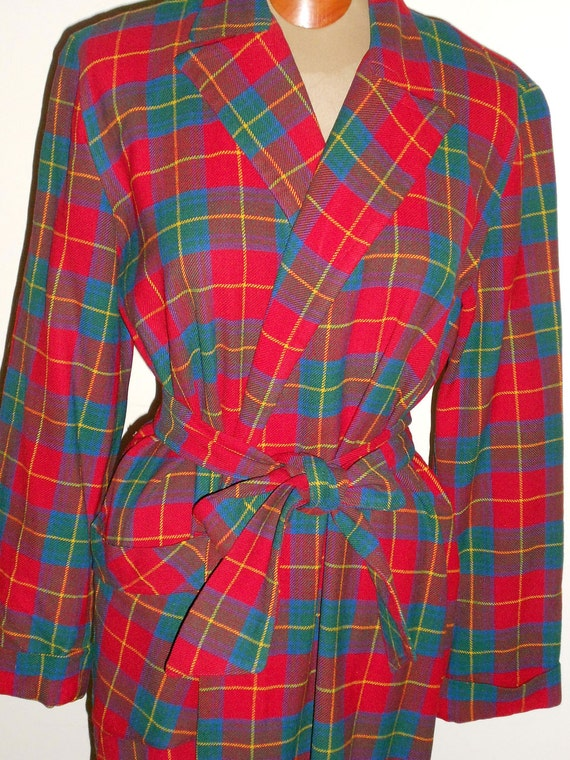 """1950's 40"""" chest pure wool red, blue, and yellow, window pane plaid robe"""