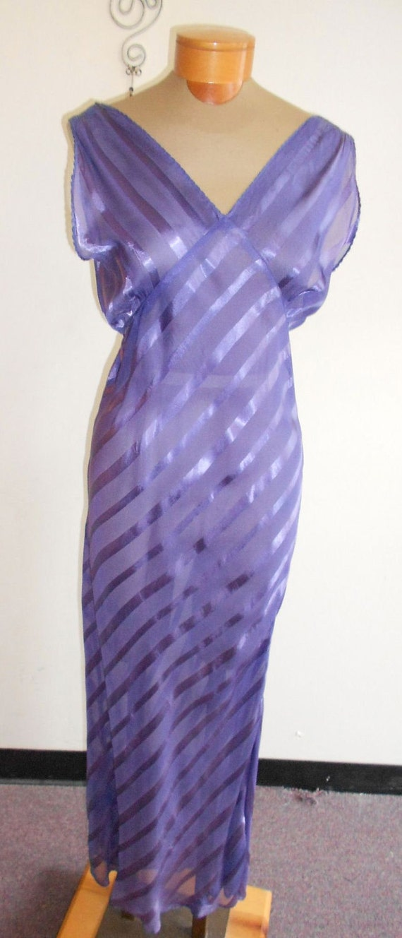 1940's medium/large rayon satin stripped, blue periwinkle, bias cut ankle length, nightgown