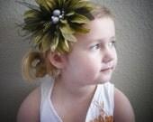 Green Flower Fascinator Clip or Headband