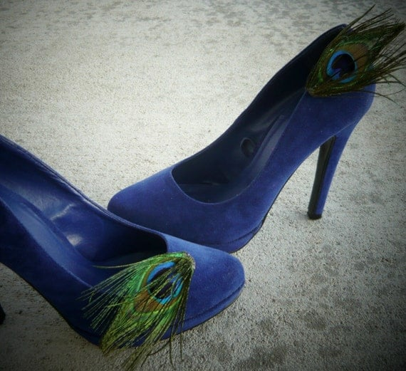Peacock Feather Shoe Clips Shoe Accessory with blue and green tones  by starzselection