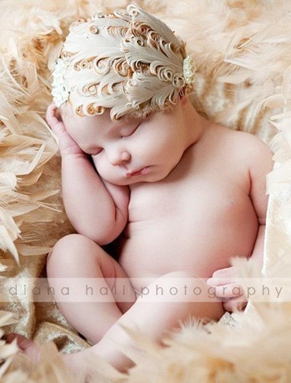 Ivory Feather Baby Headband for  baby dedication