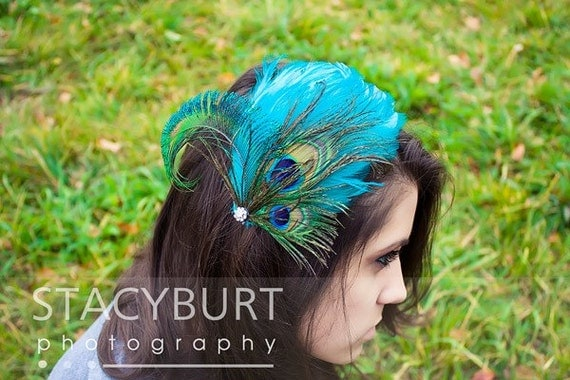 Aqua Peacock Feather Fascinator hair clip or comb