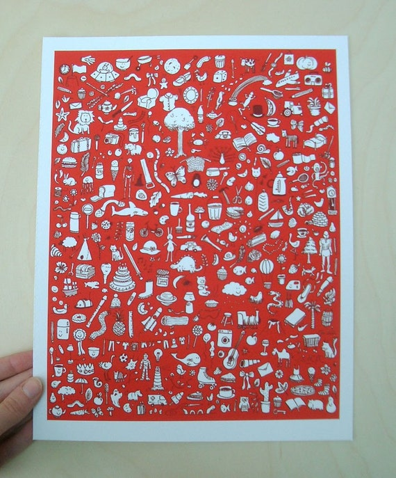 Doodlies in Red - Giclee Print