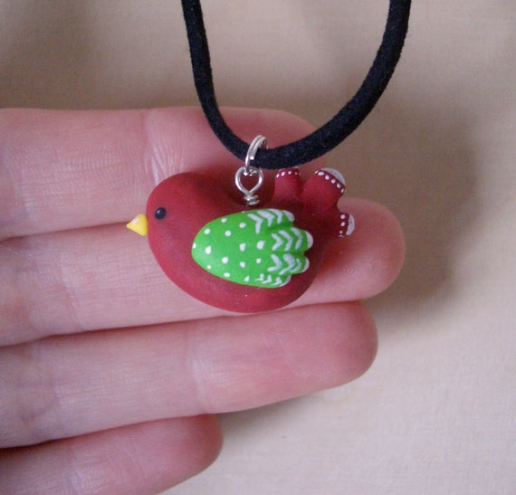 Sweet Bird Necklace - Red