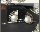 Hair Pins From Vintage Earrings - Cool Eyelash Design - Gold Tone and Faux Pearl