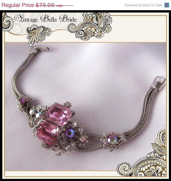 15% OFF SALE Vintage Juliana Rhinestone Bracelet Pink and Pink AB Rhinestone Wedding