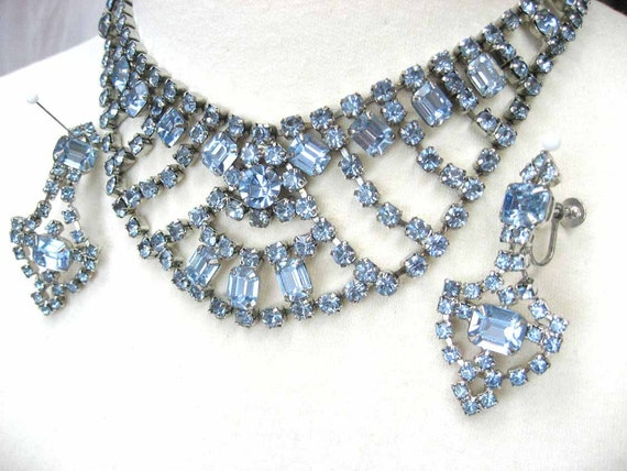 Vintage Rhinestone Necklace Earring Set Light Blue 1950s
