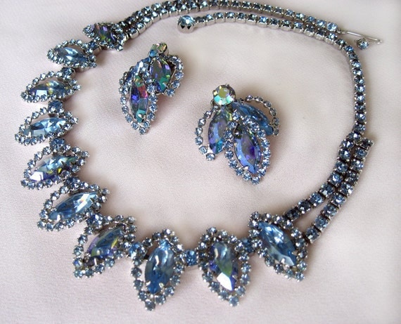 Vintage Blue Rhinestone Bridal Necklace with Earrings by Weiss
