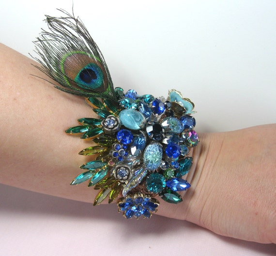 Jeweled Peacock Wedding Bracelet Cuff From Vintage Jewels