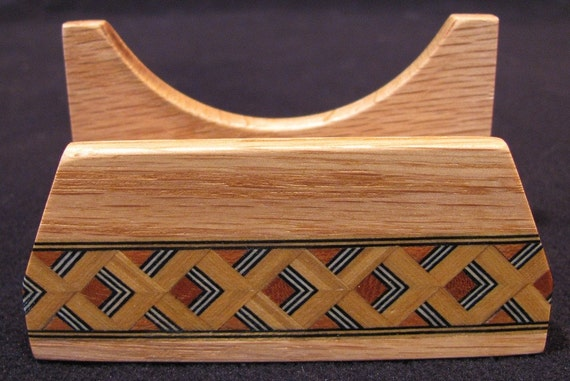 Inlaid Oak Business Card Holder