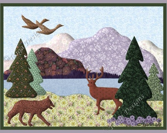 Note Cards, Blank, 10 Quilt Picture Designs, Country Nature, Bear, Deer, Moose, Fox, Ducks, Variety of 10, 2 of each Card, Mix or Match