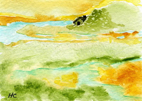 ACEO Orig Watercolor Cottage on the Inlet