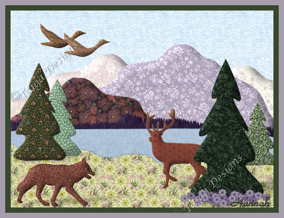 Variety of 10 Note Cards, Quilt Picture Designs Country Nature, Blank, 2 of each, Bear, Deer, Moose, Fox, Ducks