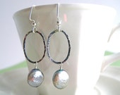 Hammered Sterling and Coin Pearl Earring