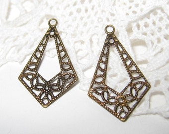 40 pcs Antique brass filigree charm/findings (FIND-019)