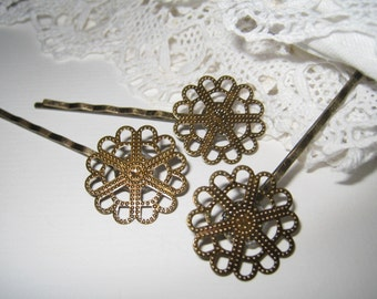 6 pcs - Antique brass filigree bobby pin/hair pin (HC-009)