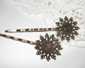6 pcs - Antique brass filigree bobby pin/hair pin (HC-014)